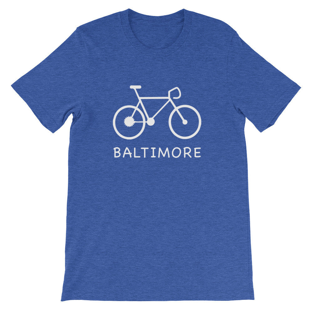 Bike for Baltimore t-shirt heather true royal