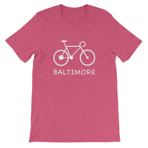 Bike for Baltimore t-shirt heather raspberry