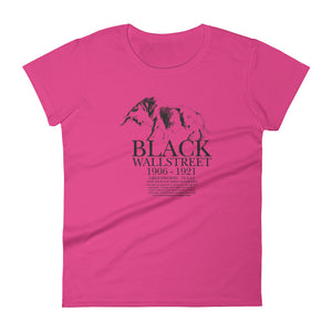 Women's Black Wall Street short sleeve t-shirt Hot Pink