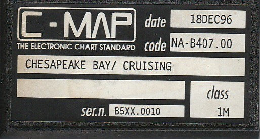 [USED] C-Map C-Card NA-B407.00 Chesapeake Bay / Cruising 18-Dec-1996 sn B5XX.0010