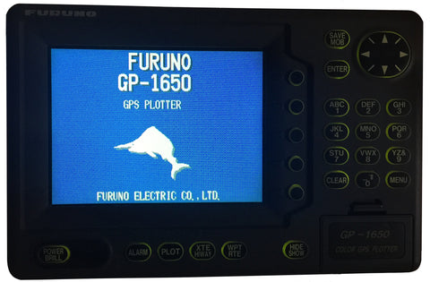 Furuno GP-1650; powering up; with backlighting