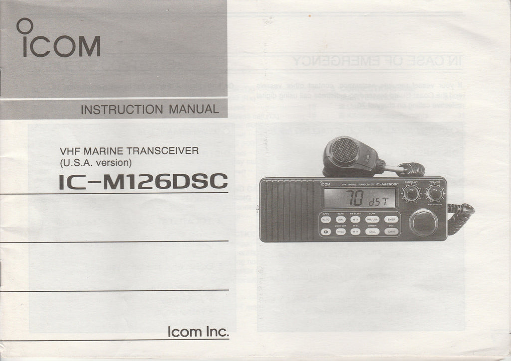 Icom A-5274S-1US-1 Instruction Manual for IC-M126DSC VHF Marine Tracsceiver [Used, Bent Corners, Stains on Rear Cover]
