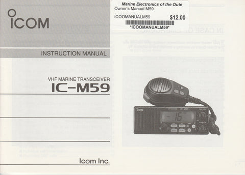 Icom A-5384D-1EX-1 Instruction Manual for IC-M59 VHF Marine Tracsceiver