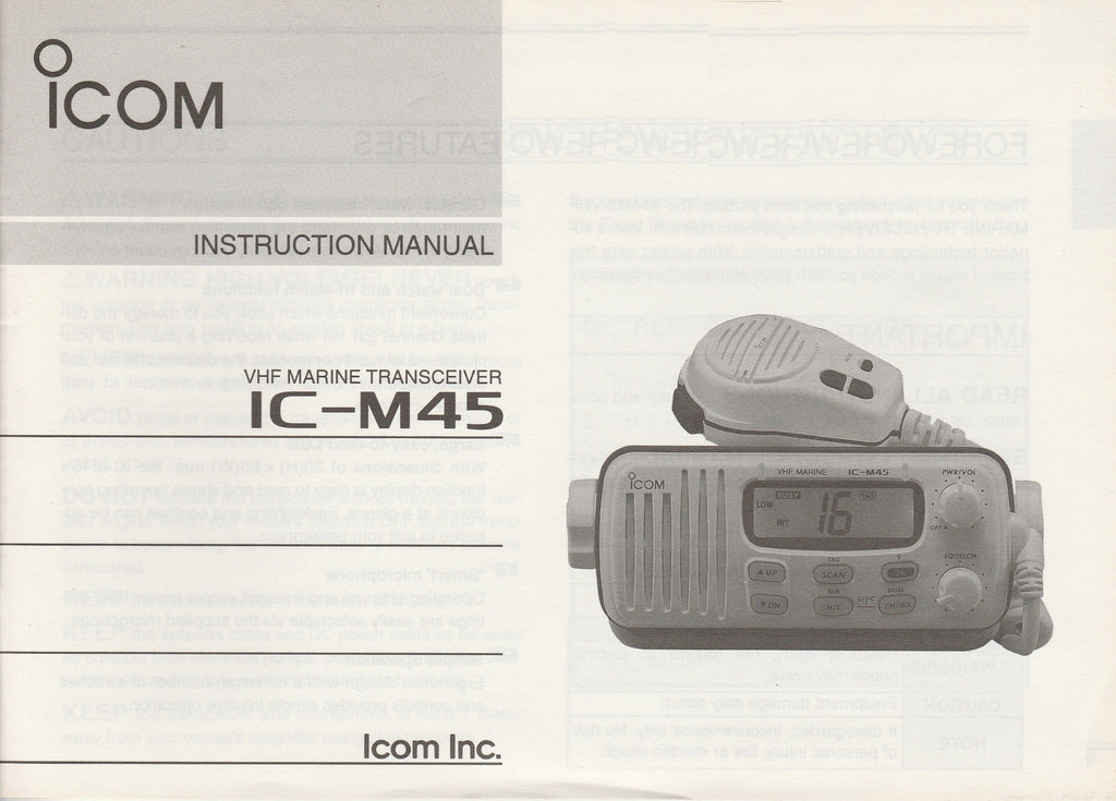 Icom A-5480D-1US-2 Instruction Manual for IC-M45 VHF Marine Tracsceiver [Used, Bent Cover and Pages]