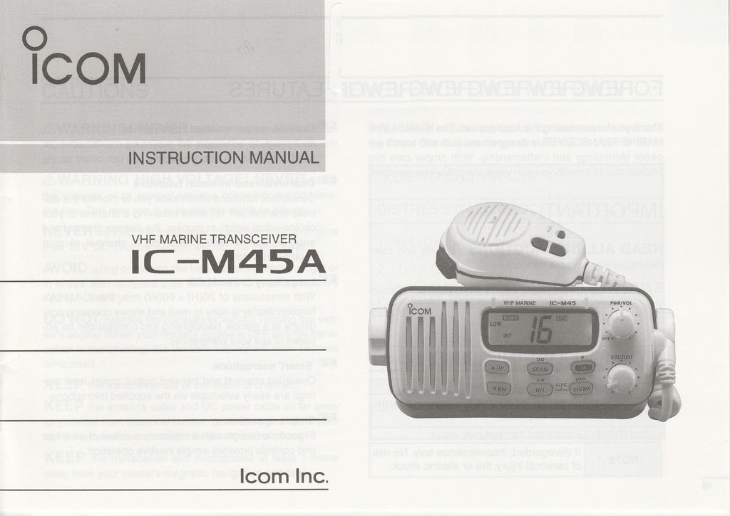 Icom A-5581D-1US-1 Instruction Manual for IC-M45A VHF Marine Tracsceiver [Used, Bent Corners]