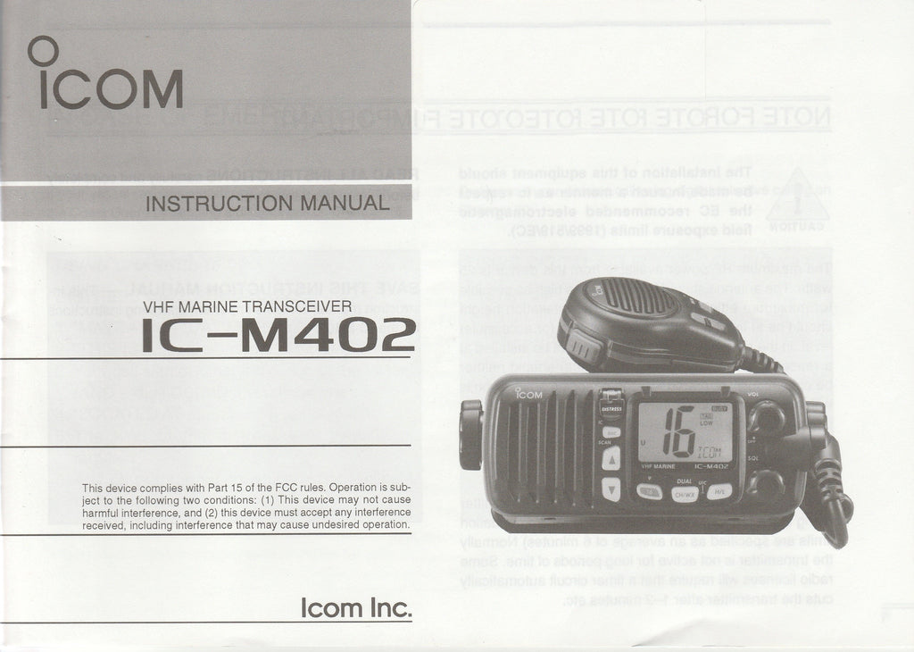 Icom A-6019H-1US-1 Instruction Manual for IC-M402 VHF Marine Tracsceiver [Used Very Good]