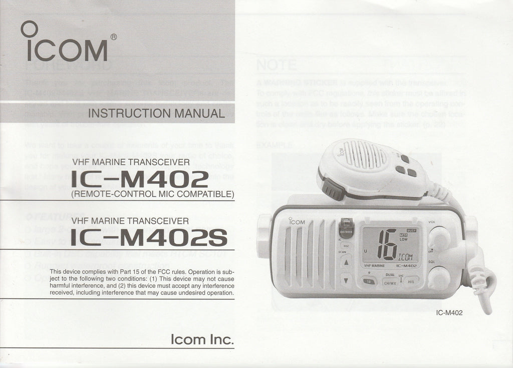 Icom A-6137H-1US-1 Instruction Manual for IC-M402 and IC-M402S VHF Marine Tracsceiver