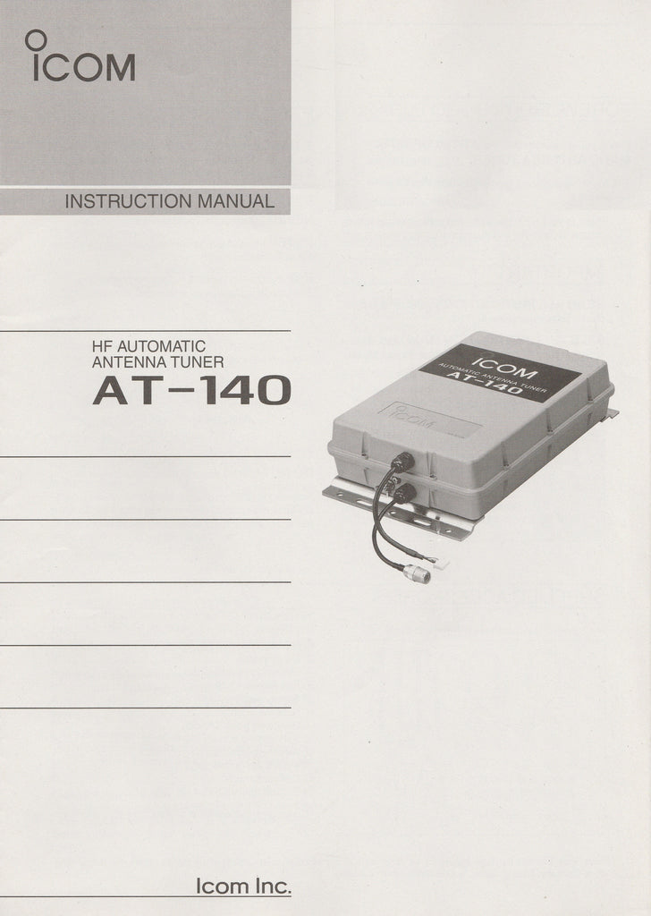 Icom A-6175H-1EX-3 Instruction Manual for AT-140 HF Automatic Antenna Tuner