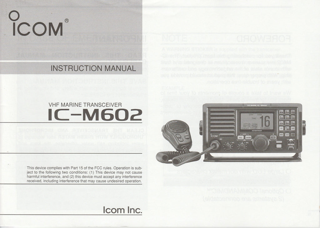 Icom A-6217H-1EX-1 Instruction Manual for IC-M602 VHF Marine Tracsceiver [New but damaged, Tear on Front Cover and  Bent corner on Rear Cover]