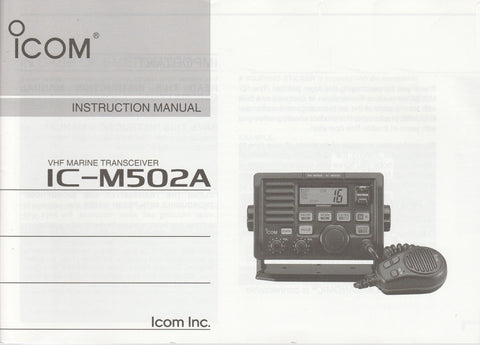 Icom A-6301H-1EX Instruction Manual for IC-M502A VHF Marine Tracsceiver