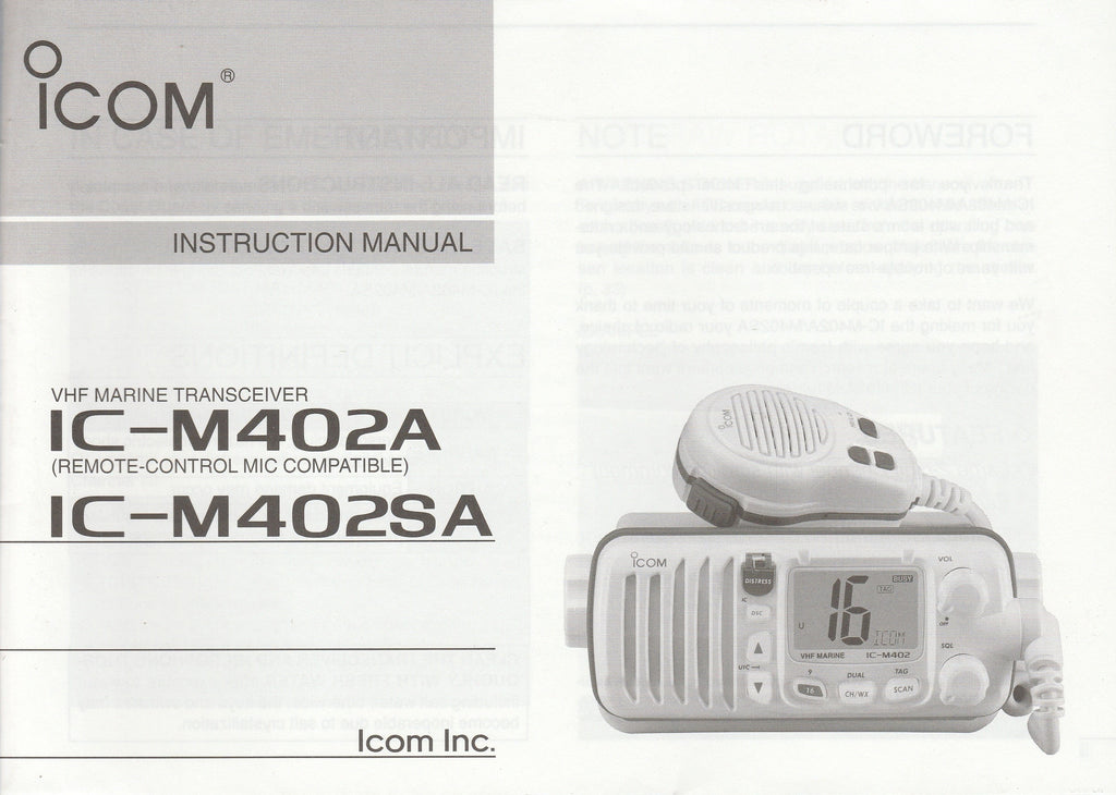 Icom A-6322H-1US Instruction Manual for IC-M402A and IC-M402SA VHF Marine Tracsceiver