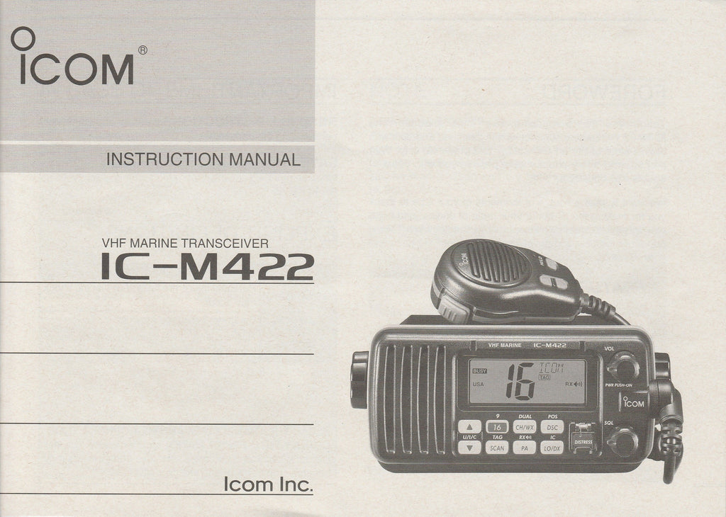 Icom A-6431D-1US-4 Instruction Manual for IC-M422 VHF Marine Tracsceiver
