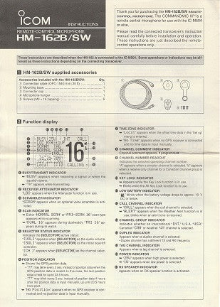 Icom A-6496X-1EX-1 Instructions for HM-162B/SW Remote-Control Microphone (8 pages)