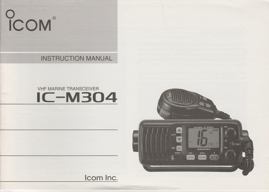 Icom A-6542D-1US Instruction Manual for IC-M304 VHF Marine Tracsceiver