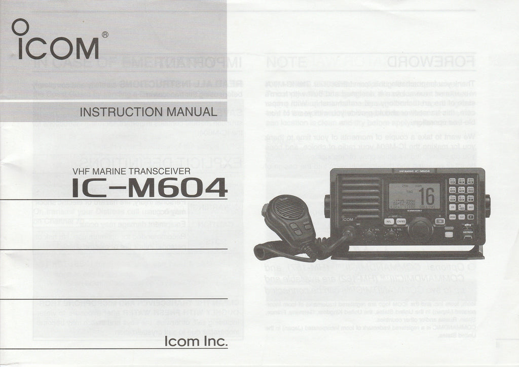 Icom A-6527D-1US Instruction Manual for IC-M604 VHF Marine Tracsceiver