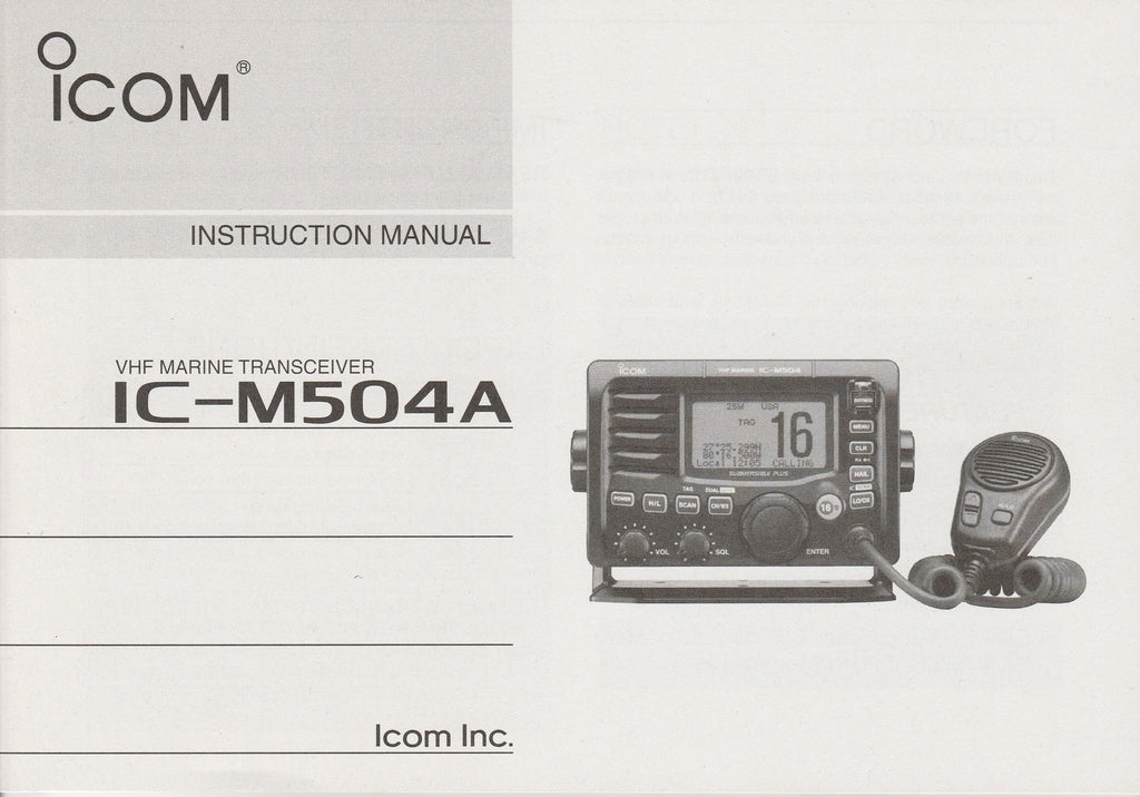 Icom A-6932D-1US Instruction Manual for IC-M504A VHF Marine Tracsceiver