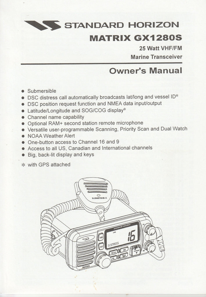 Standard Horizon EM003N100.0306R-0Y Owner's Manual for GX1280S Matrix [Used Good]