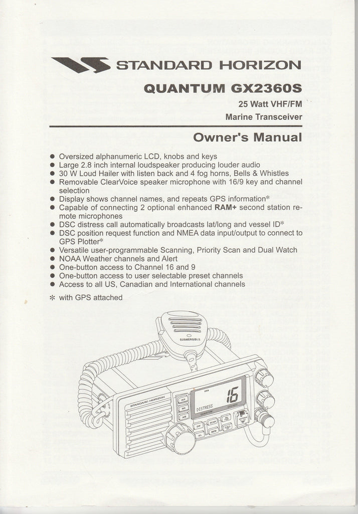 Standard Horizon EM004N102.0611W-HY Owner's Manual for GX2360S Quantum