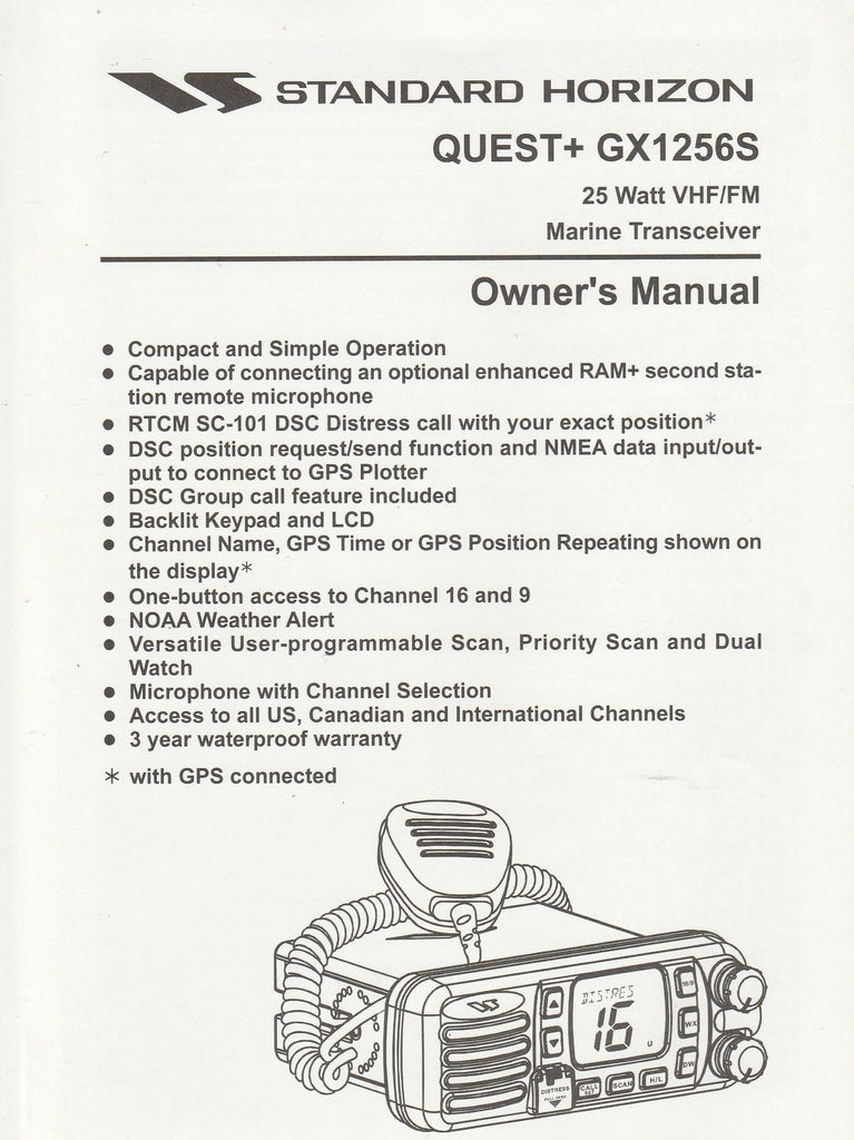 Standard Horizon EM005N100.0407T-CY Owner's Manual for GX1256S Quest+