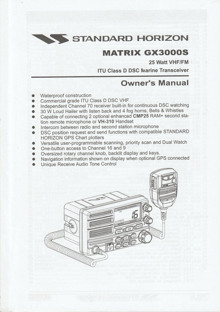 Standard Horizon EM014N100.0601G-0K Owner's Manual for GX3000S Matrix