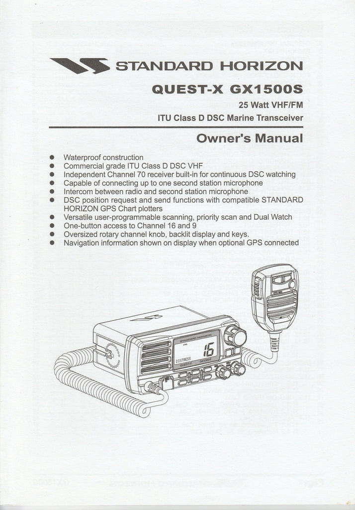 Standard Horizon EM017N102.0804YH-001 Owner's Manual for GX1500S Quest-X