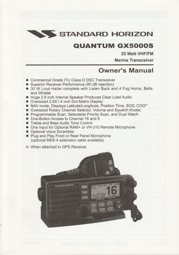 Standard Horizon EM028N103.0101W-EK Owner's Manual for GX5000S Quantum