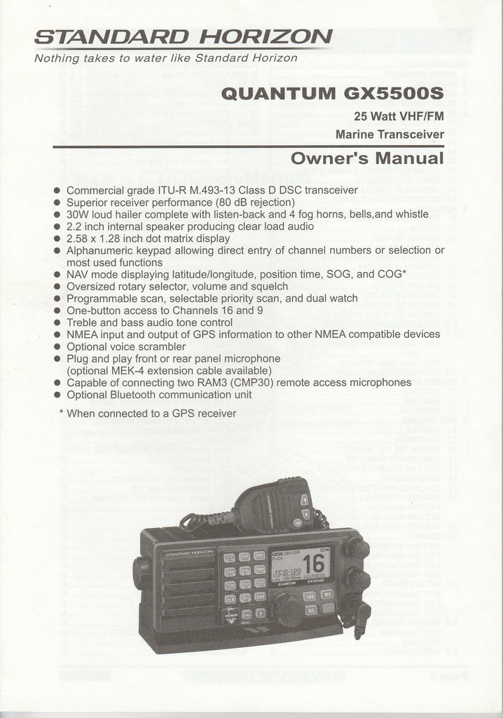 Standard Horizon EM028N208.1303T-DY Owner's Manual for GX5500S Quantum