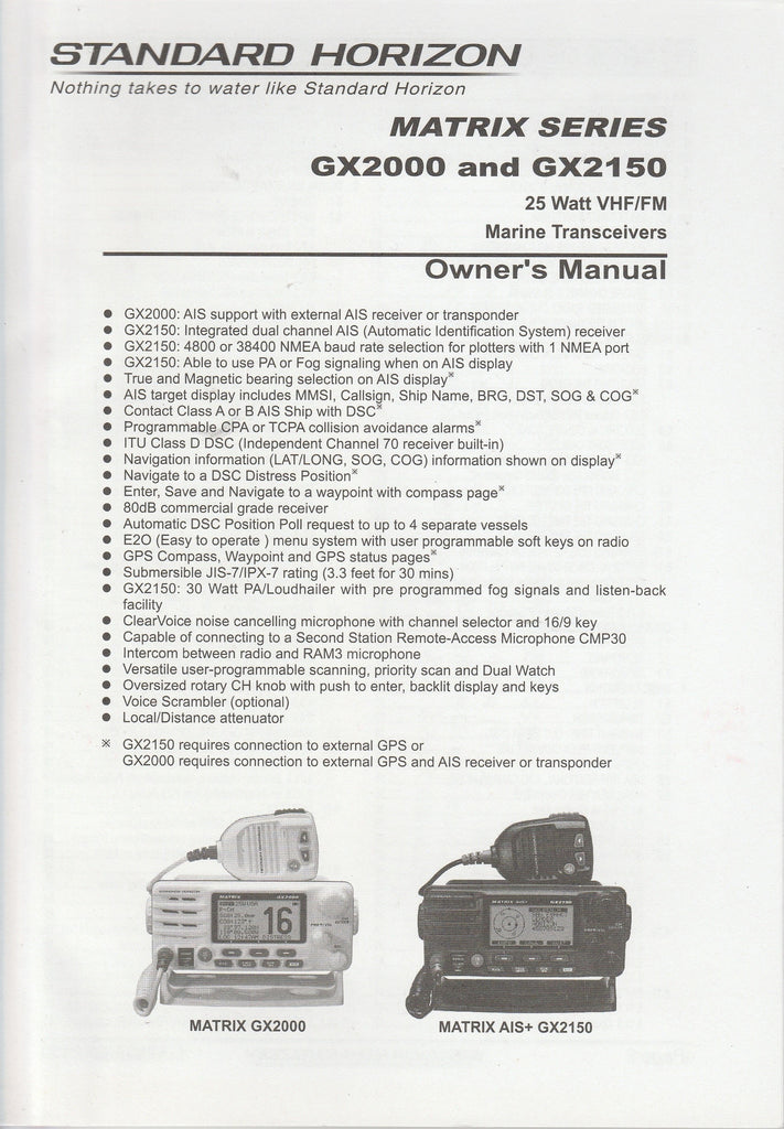 Standard Horizon EM044N160.1212YH-001 Owner's Manual for GX2000 and GX2150 Matrix Series