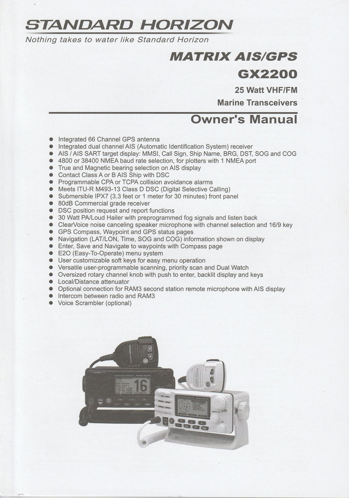 Standard Horizon EM044N170.2013 Owner's Manual for GX2200 Matrix AIS/GPS [Like New]