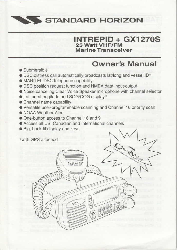 Standard Horizon EY280N100.02AX851010 Owner's Manual for GX1270S Intrepid+