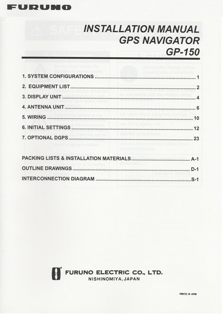 Furuno IME-444-00A Installation Manual for GP150 GPS Navigator