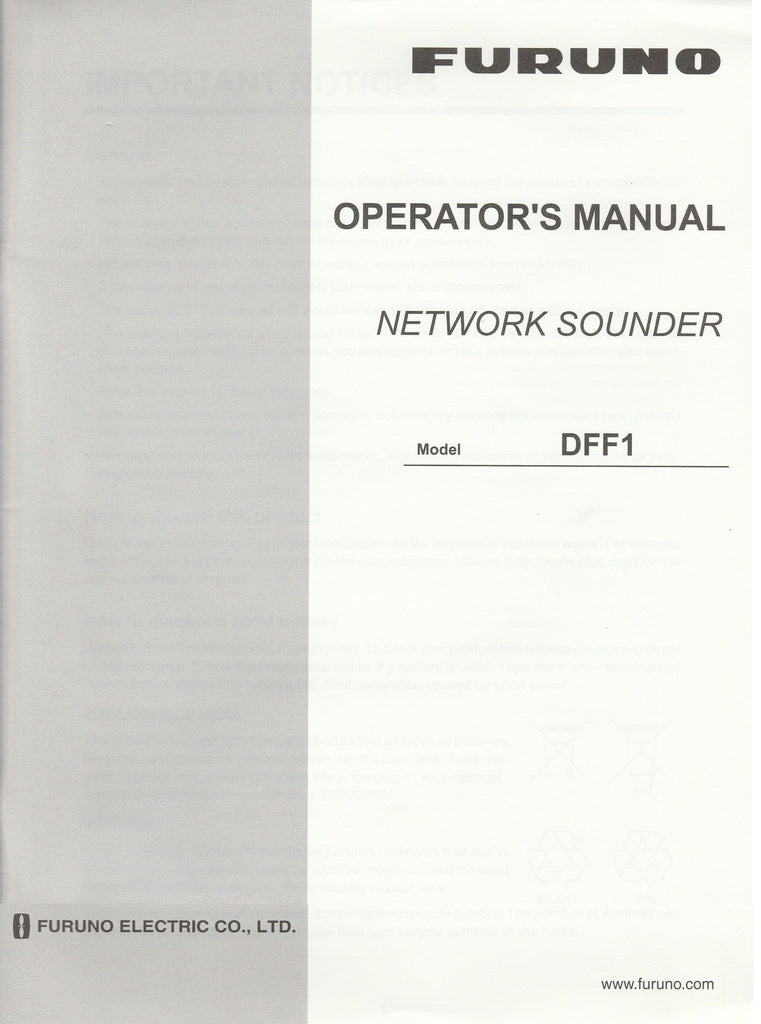 Furuno OME-203-60B Operator's Manual for DFF1 Network Sounder [Used, Good]
