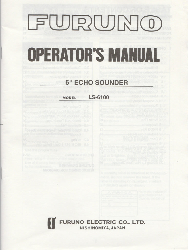 Furuno OME-236-90B Operator's Manual for LS6100 6inch Echo Sounder [Used, Very Good]