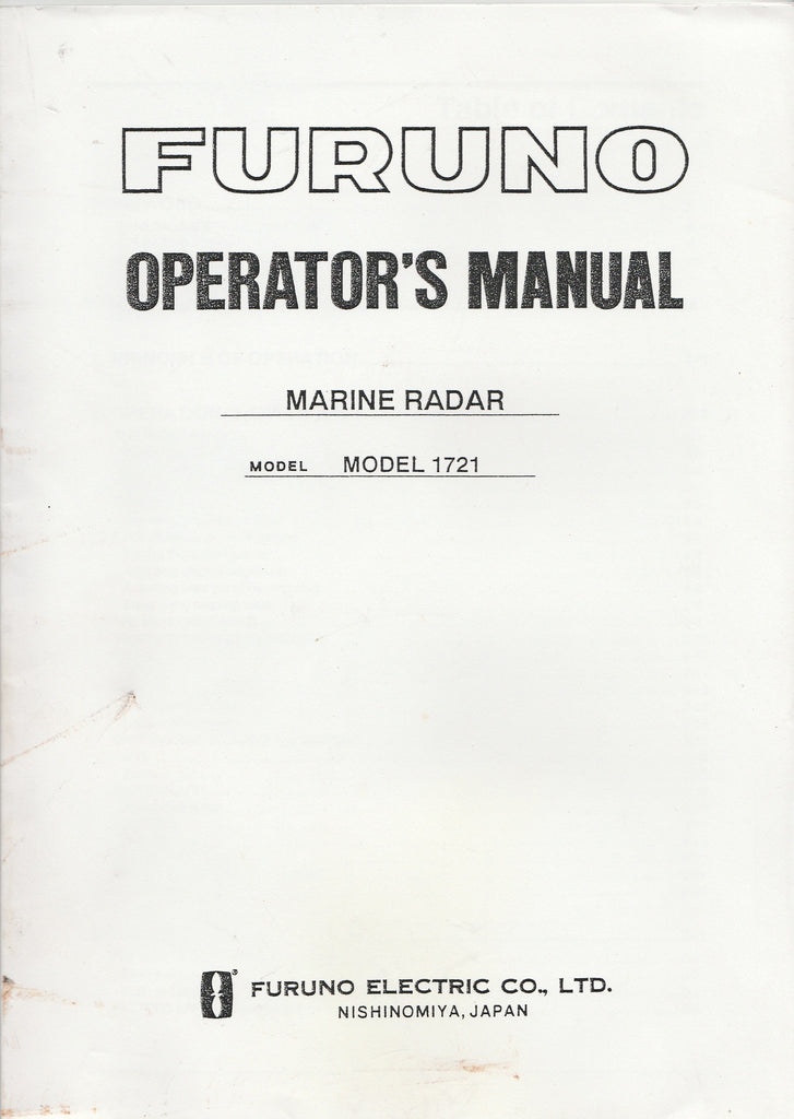 Furuno OME-335-90G Operator's Manual for 1721 Marine Radar [Dirty Covers]
