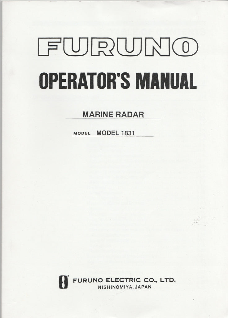 Furuno OME-337-90H Operator's Manual for 1831 Marine Radar