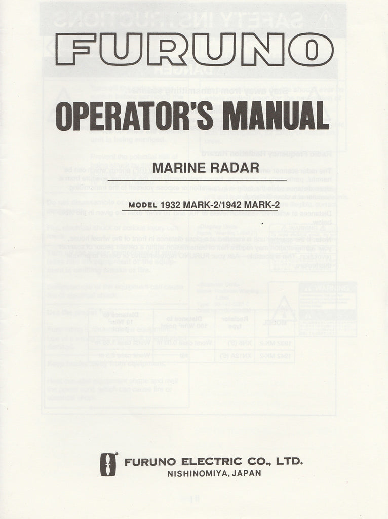 Furuno OME-346-201 Operator's Manual for 1932mark2 1942mark2 Marine Radar