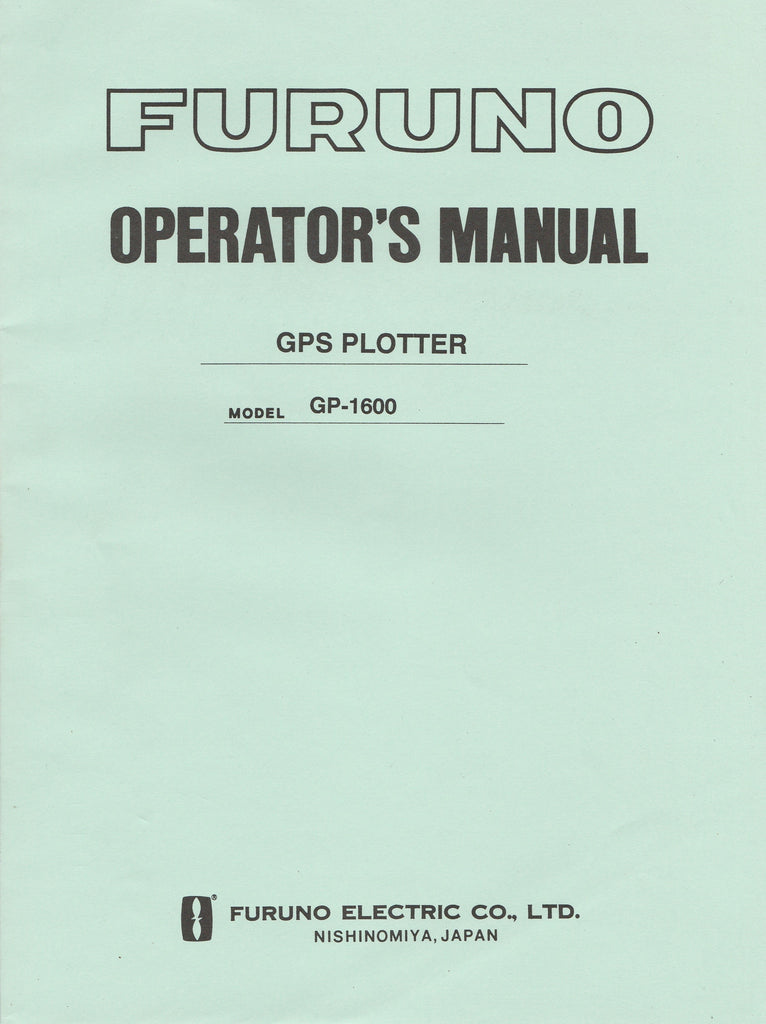 Furuno OME-437-70B Operator's Manual for GP1600 GPS Plotter