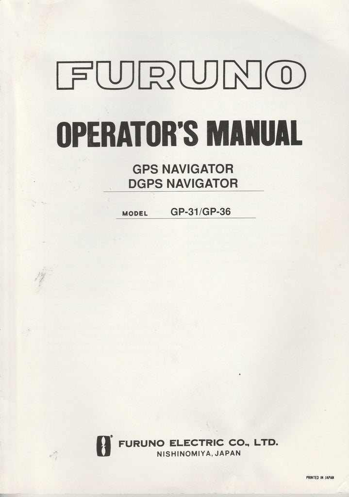 Furuno OME-439-90F Operator's Manual for GP31 GPS Navigator and GP36 DGPS Navigator [Used Acceptable]