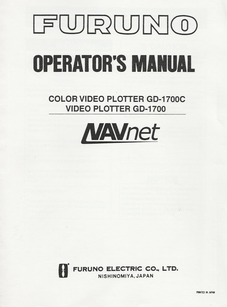 Furuno OME-440-90F Operator's Manual for NAVnet GD1700 Video Plotter and GD1700C Color Video Plotter