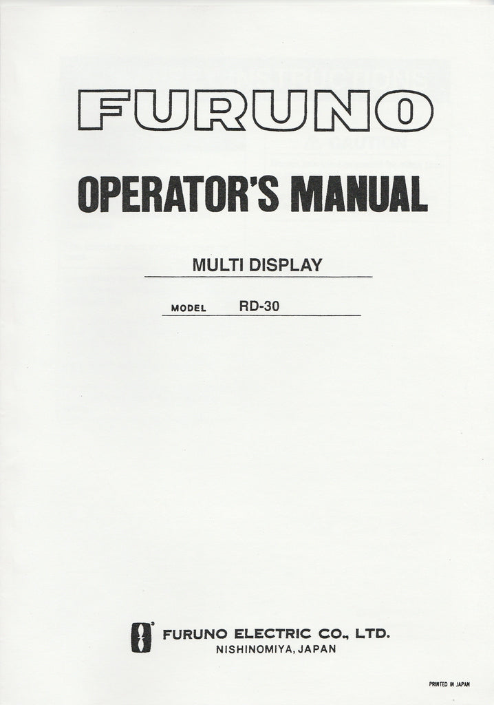 Furuno OME-441-30B Operator's Manual for RD30 Multi-display