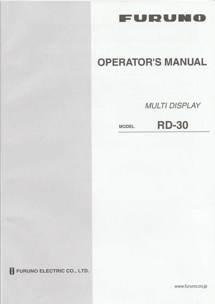 Furuno OME-441-30J Operator's Manual for RD30 Multi-display