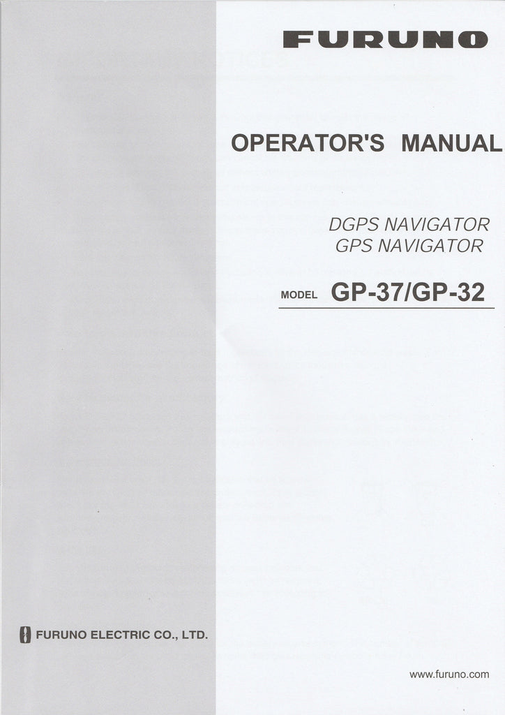 Furuno OME-442-00G Operator's Manual for GP32 GPS Navigator and GP37 DGPS Navigator