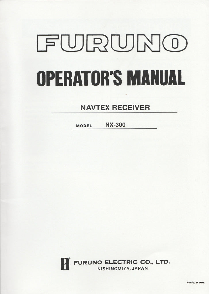 Furuno OME-562-90B Operator's Manual for NX300 NAVtex Receiver [Used Very Good]
