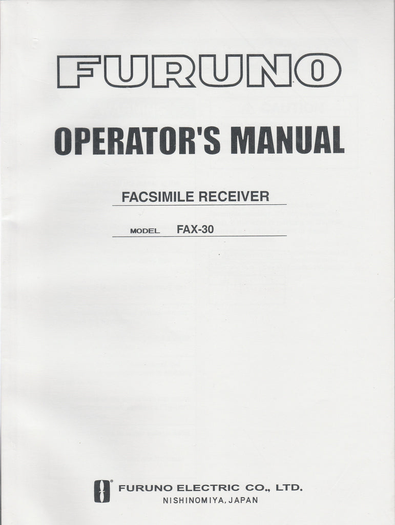 Furuno OME-626-00D1 Operator's Manual for FAX30 Facsimile Receiver