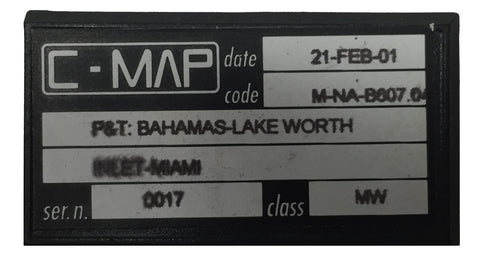 [USED] C-Map C-Card M-NA-B607.04 P&T: Bahamas-Lake Worth Inlet, Miami 21-Feb-2001 sn 0017