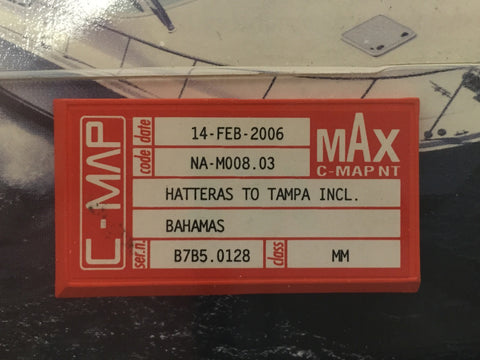 [USED] C-Map NT mAx C-Card NA-M008.03 Hatteras to Tampa including the Bahamas 14-02-2006 sn B7B5.0128