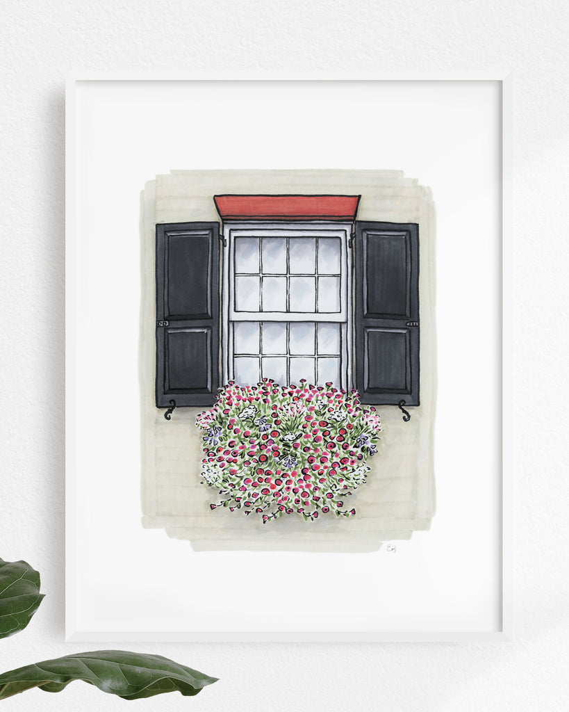 Flower Box Print of Taupe House with Pink Flowers