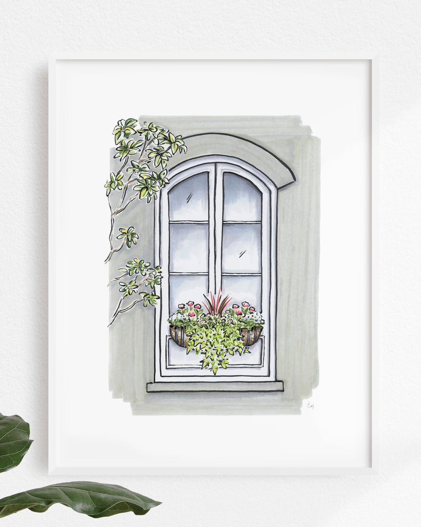 Flower Box Print of Grey House with Magnolia Tree