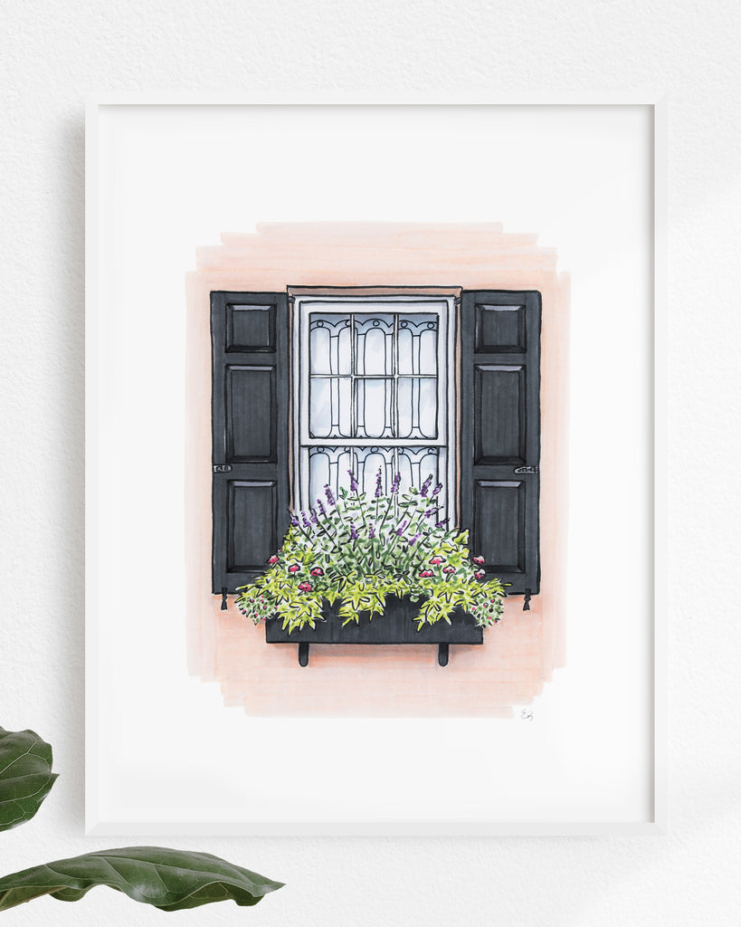 Flower Box Print of Light Coral House with Black Shutters
