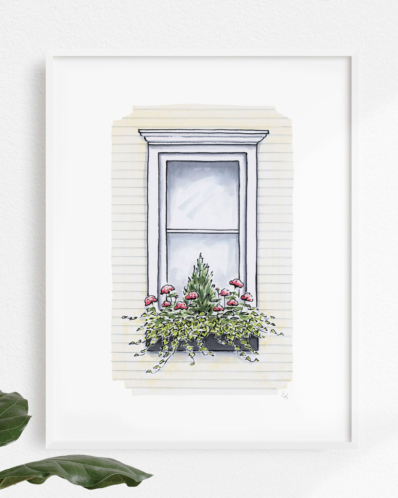 Flower Box Print of Cream House with Evergreen Tree